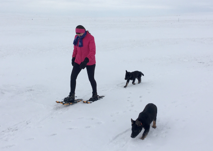 Marna Snowshoeing with Tychicus and Tabaliah 2016-12-27